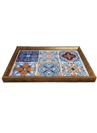 Arte Casero Cam Baskı Renkli Mozaik Tepsi 32x46 CM Renkli
